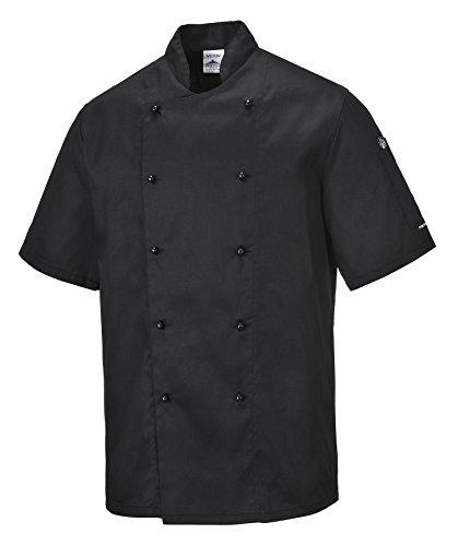 Portwest C734 - Chaqueta Kent cocineros, color Negro, talla XL