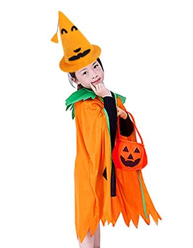 Disfraz de calabaza 3 en 1 para nios, disfraz de calabaza, disfraz de sombrero o trato para cosplay, cabo, disfraz de fiesta para Halloween, fiesta de carnaval