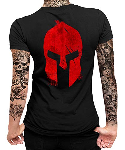 Spartan Helm Fitness Sport Kleidung Krieger Warrior Gym Performance Training Bodybuilding Muscle-Shirt Kampfsport Athletic Sparta Frauen Damen T-Shirt Rücken