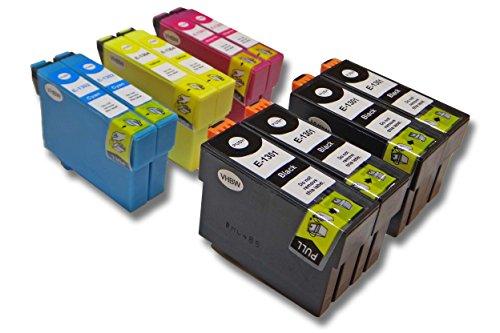 vhbw Pack de 10 Cartuchos de Tinta Compatible con Epson Workforce WF-7525 - Cian, Magenta, Yellow, Negro (Compatible)