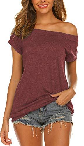 Lalala Bluse Damen Elegant Sexy Top Schulterfrei Oberteile Kurzarm Tunika Shirt (Weinrot XL)