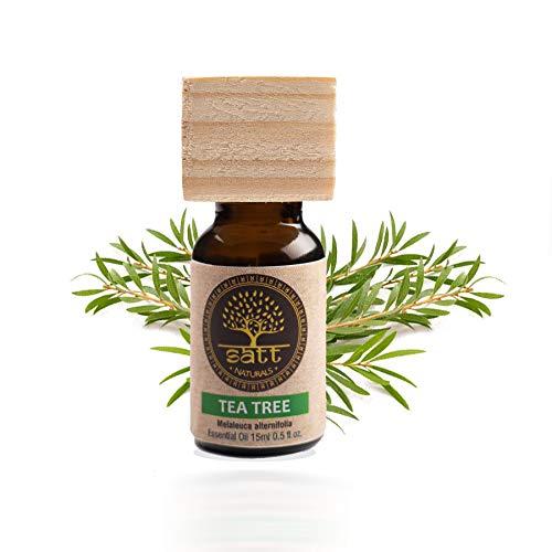 Satt Naturals Australian Tea Tree Essential Oil (15ml) for Hair Growth, Glowing Skin, Acne, Blemishes & Immunity