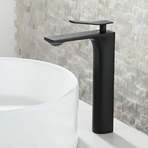 Beelee Moderno Grifo de Lavabo Baño Grifo de tocador alto en latón, Pintura negro, BL6601HB