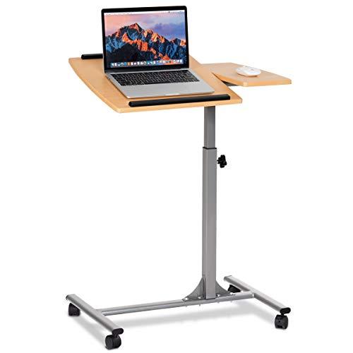 COSTWAY Laptoptisch Notebooktisch Pflegetisch Rolltisch Betttisch Sofatisch, auf Rollen, höhenverstellbar und neigungsverstellbar, 95x64x45cm