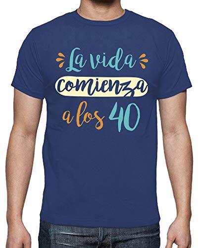 latostadora - Camiseta la Vida Comienza para Hombre Azul Royal 4XL