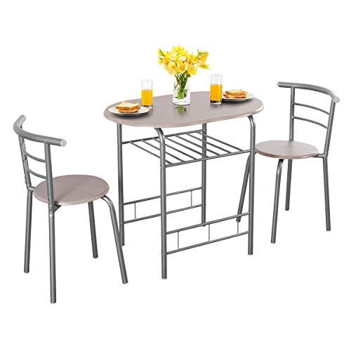 RELAX4LIFE Essgruppe 3-teilig, Sitzgruppe platzsparend, Esszimmer Set mit Tisch & 2 Stühle, Küchentisch mit Ablage, Esstisch Set aus Holz, Balkonset für 2 Personen, Küche, Garten, Café, Bar (Grau)
