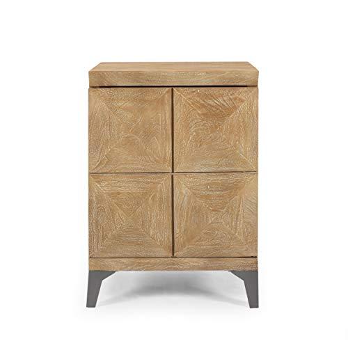 Katherine Handcrafted Boho Mango Wood Cabinet, Sandblasted Oak and Gray Antique