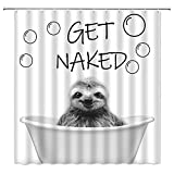 AMHNF Sloth Shower Curtain Funny Animal Cute Smiling Sloth Get Naked Bathing Bathtub Bubble Crazy City Sketch Pattern Home Bathroom Decor Quick Dry Fabric with Hooks,White Gray