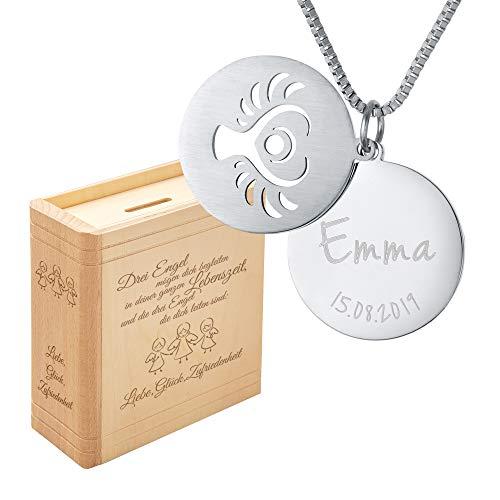 Casa Vivente Geschenkset Spardose und Halskette mit Engel Motiv, Kette personalisiert mit Name und Datum, Geschenkidee zur Konfirmation und Kommunion
