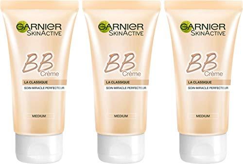 Garnier - SkinActive - BB Crème - Soin miracle perfecteur 5-en-1 - Classique - Peaux Mixtes à Grasses - Teinte Medium - Lot de 3 x 50ml