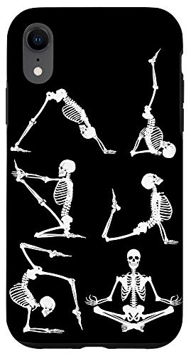 iPhone XR Funny Yoga Poses Meditation Halloween Skeletons Case