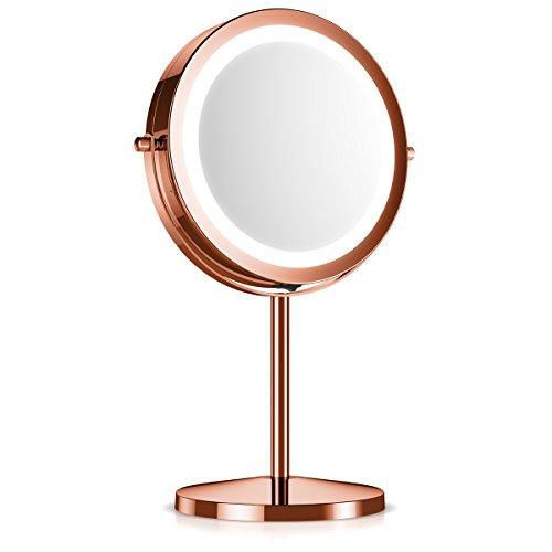 Navaris Kosmetikspiegel mit LED Beleuchtung - Spiegel mit 5fach Vergrößerung Make Up Standspiegel - Schminkspiegel beleuchtet 360° drehbar in Kupfer