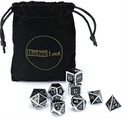 Harbor Loot Full Metal Dice Set Plus Extra D6 Total Eight Dice Metal Polyhedral Dice Set Black and Silver Dice