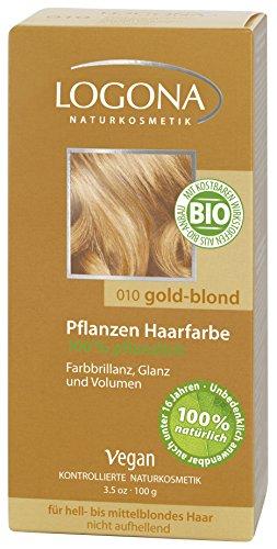 LOGONA Naturkosmetik Coloration Pflanzenhaarfarbe, Pulver - 010 Goldblond - Blond, Natürliche & pflegende Haarfärbung (100g)