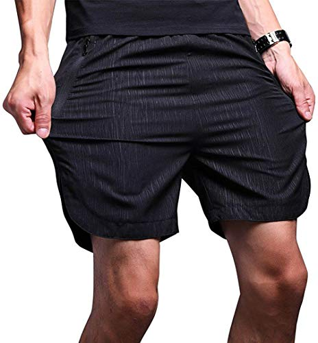 LTIFONE Mens Shorts,Gym Quick Dry Workout Training Shorts,Running Sweat Track Shorts for Mens,Vertical Stripe with Zipper Pocket (Black,M)