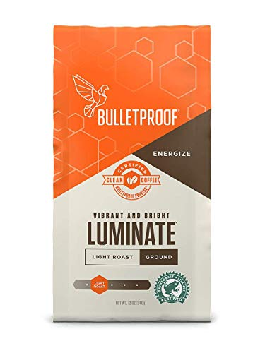 Bulletproof Luminate Ground Coffee, Premium Light Roast Gourmet Organic Beans, Rainforest-Alliance, Perfect for Keto, Upgraded Clean Coffee (12 Ounces).