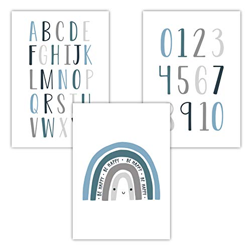 Pandawal Babyzimmer Bilder ABC zum lernen Kinderzimmer Deko Baby 3er Set Zahlen Buchstaben Regenbogen für Mädchen und Junge Poster DIN A4 Blau (R3)