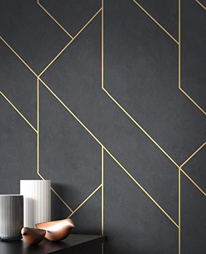 NEWROOM Tapete Schwarz Vliestapete Linien - Grafiktapete Modern Gold Muster Mustertapete Grafisch Grafik Geometrische Formen inkl. Tapezier-Ratgeber