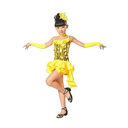 Vestido de baile latino para niñas Niños niñas volantes asimétricos con lentejuelas Rumba Salsa Ballet latino Samba Salón de baile Ropa de baile Vestido de tutú Rendimiento Competencia Traje de baile
