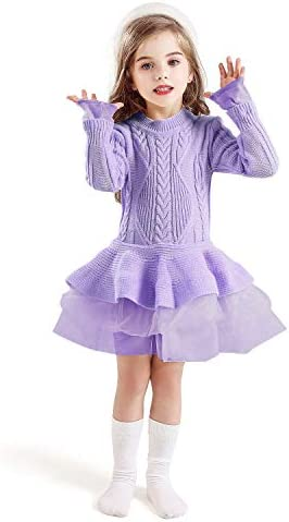 NNJXD Girls Long Sleeve Autumn Winter Knit Sweater Christmas Dress Casual Wear Size 120 4 5 product image