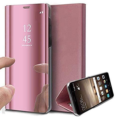 Caler Case Compatible con Samsung Galaxy S7 Edge Funda Cuero PU Espejo Brillante Clear View Modelo Fecha Duro Cover Flip Tapa Libro Soporte Plegable Ventana de Espejo Transparente Carcasa(Oro Rosa)