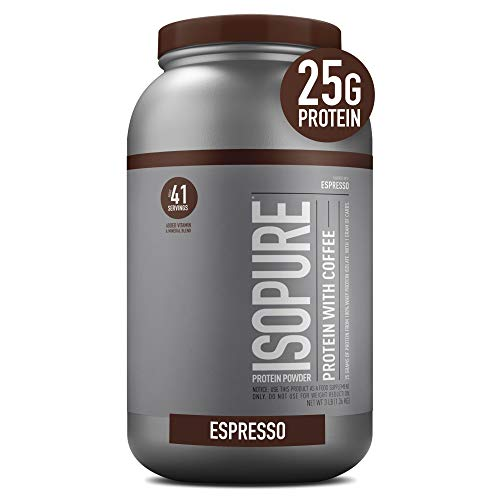 Isopure with Coffee, Vitamin C and Zinc for Immune Support, 25g Protein, Keto Friendly Protein Powder, 100% Whey Protein Isolate, Flavor: Espresso, 3 Pounds (Packaging May Vary)