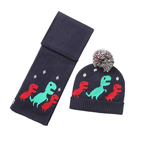 ANIMQUE Baby Kleinkinder Wintermütze Schal 2stk Set Dinosaurier Motiv 1-2 Jahre Jungen Mädchen Warm Strickmütze Beanie Halstücher Schwarz, M