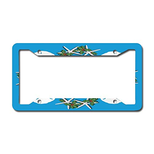 Library design Your License Plate Frame Auto Truck Car Front Tag Personalized Metal License Plate Frame 6'x12'. Tropical Christmas Sand Dollars Starfish Teal