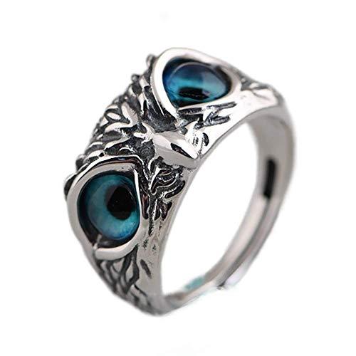 Anillo de plata de ley 925 con diseño de búho de ojo de demonio, anillo de plata de ley vintage, anillo ajustable estilo retro de moda, el mejor regalo para mujeres y hombres