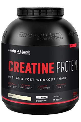 Body Attack Creatine Protein, Vainilla, 2kg, proteína en polvo con monohidrato de creatina