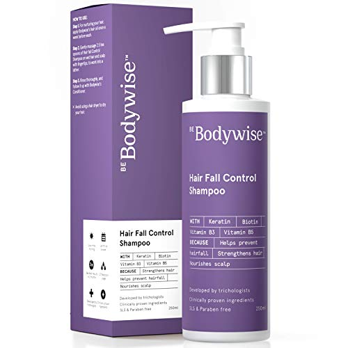 Bodywise Keratin Hair Fall Control Paraben & Sulphate Free Shampoo for Woman| 3x Powerful Hair fall reduction with Niacinamide &...