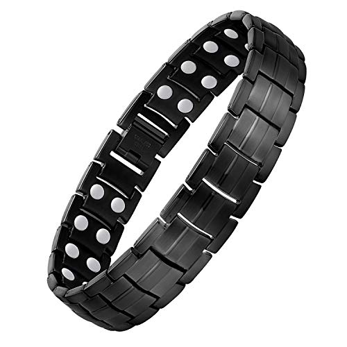 Jecanori Magnetic Bracelet for Men Arthritis & Carpal Tunnel Syndrome Pain Relief Stainless Steel Ultra Strength Double Row 3500 Gauss Magnets,Titanium Steel Therapy Bracelet (Black)