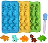 Candy Molds Ice Cube Trays Chocolate Molds, Silicone Molds Including 3 Dinosaur for Making Ice, Jelly, Chocolate, Soap, Pack of 3 with 1 Dropper. (Dinosaur)