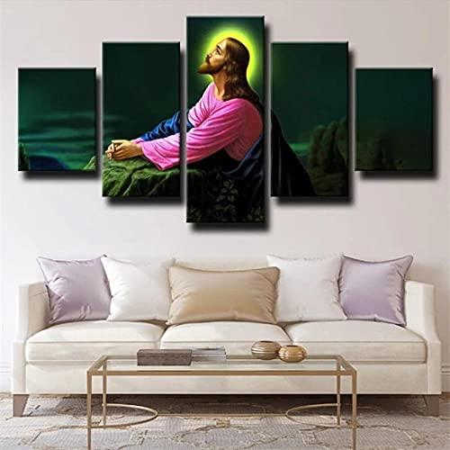 ADGDS Cuadro sobre Lienzo Poster 5 Piezas Arte Lienzo Impresiones Cuadros de Pared impresión sobre Lienzo Cristiano Dios Jesus Pinturas Modernas para decoración del hogar Marco