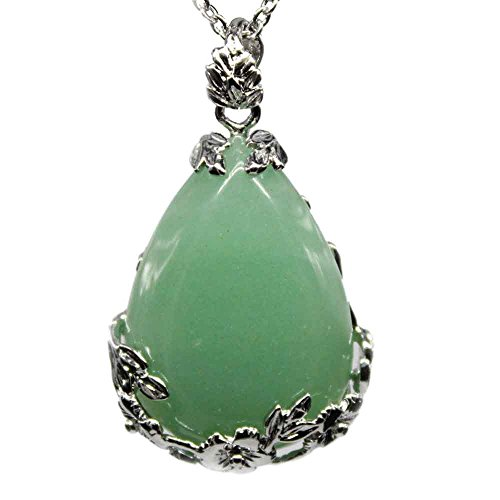 KISSPAT Natural Green Aventurine Teardrop Pendant...