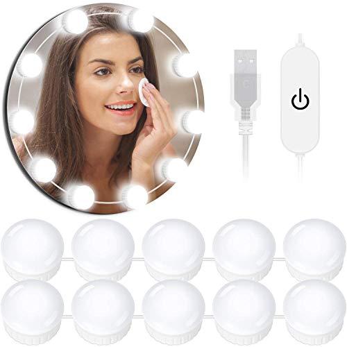OUSFOT Led Spiegelleuchte Spiegellampe Hollywood Stil Schminklicht für Spiegel mit Schalter Make Up Licht 10 Dimmbar Verstellbare Länge Kaltweiß Verpackung MEHRWEG (Kaltweiß)