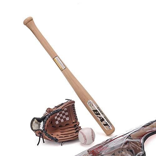AoYan Baseball-Set - 24-Zoll-Holz-Baseballschläger + 10,5 PVC-Superweiche Handschuhe + Standardgröße Handgenähter Baseballschläger, Erwachsene Kinder, Geeignet für Jugendliche, Anfänger.