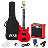 LyxPro 30 Inch Electric Guitar and Starter Kit for Kids with 3/4 Size Beginner's Guitar, Amp, Six Strings, Two Picks, Shoulder Strap, Digital Clip On Tuner, Guitar Cable and Soft Case Gig Bag - Red