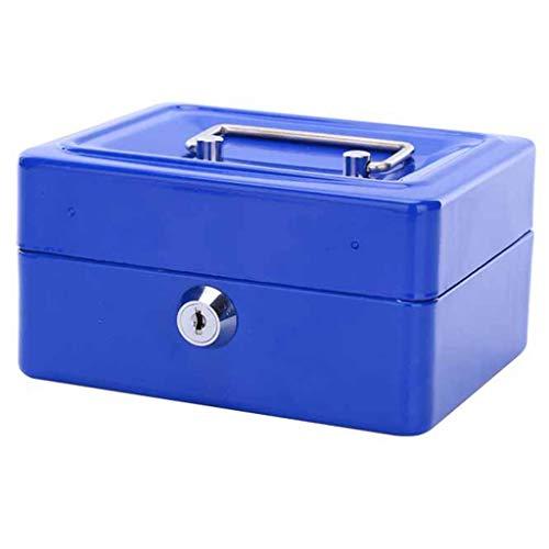 Coffres de rangement Boîte de Rangement Ignifuge avec Serrure, Petite boîte de Rangement, Document pour la Maison, Coffre-Fort, Mini-Tirelire Portable (Color : Blue, Size : 15 * 11.9 * 7.7cm)