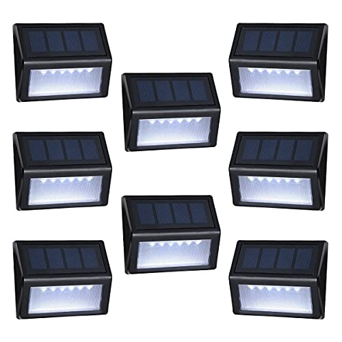 Outdoor Solar Step Lights with Larger Battery Capacity Homeyearn 8-Pack 6 LED Solar Powered Deck Lights Weatherproof Outdoor Lighting for Steps Stairs Decks Fences Paths Patio Pathway (White Light)