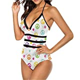 High Waisted Cheeky Bikini Set Old Peace Sign Symbol for You or As A Gift