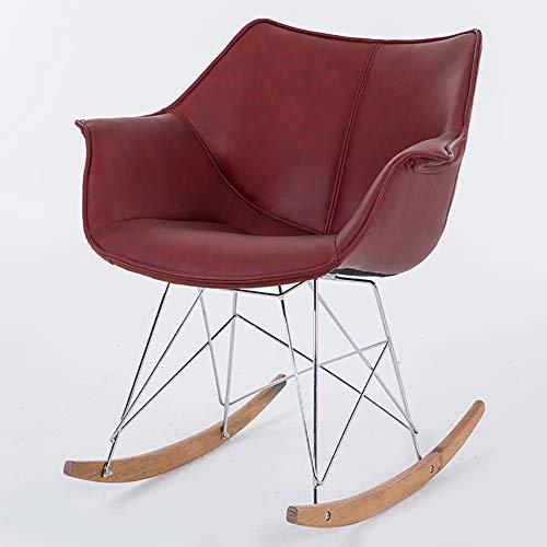 WY-AYNG Gepolsterter SitzNordic Modern Leder Schaukelstuhl, Freizeit Couch Balkon Schlafzimmer Liegestuhl Lounge Chair,Reddish Brown