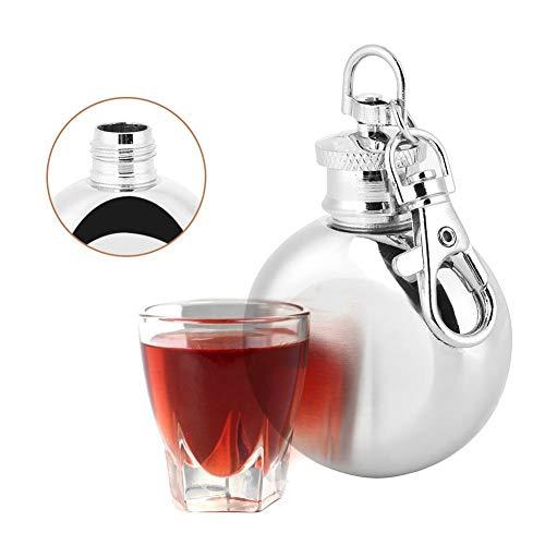 Roestvrijstalen flessen jenever 1 ounce gepersonaliseerde pocket whisky flessen draagbare alcoholflessen met sleutelhanger clip haak voor vrouwen mannen en vaderdag cadeau meer zilver