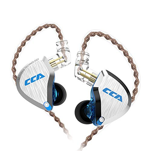 CCA C12 IEM in Ear Monitor 5BA+1DD Multi Drivers HiFi Earphones, 5 Balanced Armature and 1 Dynamic Drivers High Fidelity CCA Earbuds(Without mic, Blue)