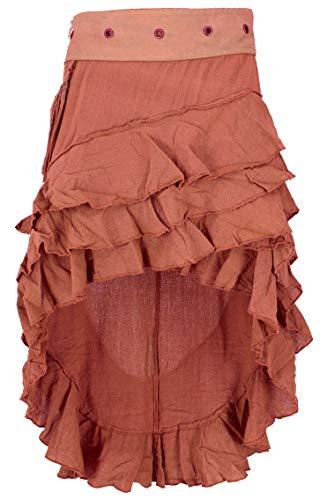 GURU SHOP Psytrance Goa Pixi Minirock, Wickelrock, Stufenrock, Damen, Rostorange, Baumwolle, Size:One Size, Röcke/Kurz Alternative Bekleidung