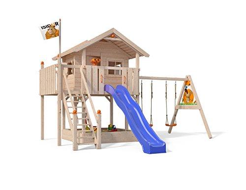 XL-Baumhaus COLINO Spielturm mit Schaukelanbau und Sicherheitstreppe, XXL- Rutsche, Sandkasten und Balkon auf 1,50 Meter Podesthöhe