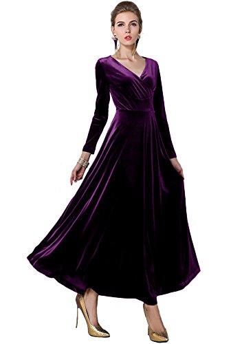 Urban GoCo, klassisches langes elastisches Damenkleid, Samt, V-Ausschnitt, lange Ärmel Gr. 40, violett