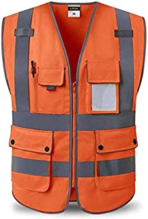 ZXPzZ Reflective Vests, Construction Site Safety Protective Clothing Multi-pocket Traffic Road Sanitation Vest Three Colors Optional