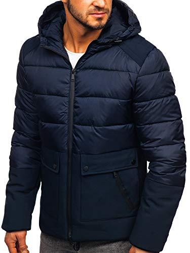 BOLF Herren Winterjacke Stehkragen Kapuze Sportjacke Reißverschluss Casual Style S-West B1280 Dunkelblau M [4D4]