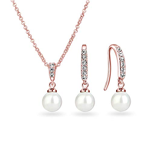 Philip Jones Rose Gold Pearl Drop Set Created with Austrian Crystals